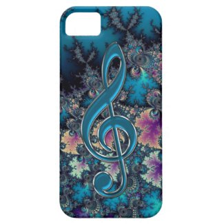 Fractal Blues with Metallic Music Clef iPhone Case Iphone 5 Cases