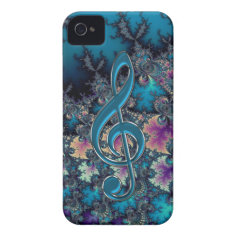 Fractal Blues with Metallic Music Clef iPhone Case iPhone 4 Cover