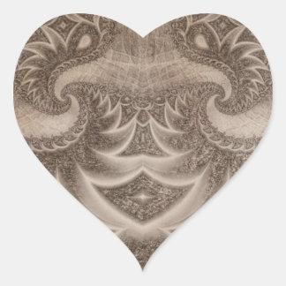 Fractal bosquejado 13 pegatina en forma de corazón