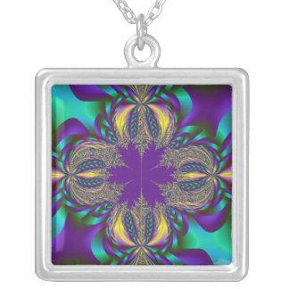 Fractal Braids Square Pendant Necklace