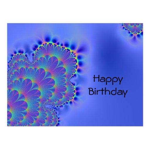 Fractal brillante del cumpleaños postales