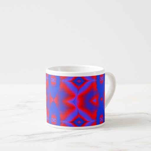 fractal brillante del rojo azul tazas espresso