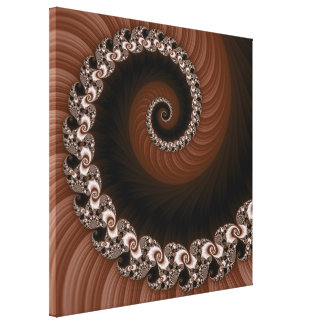 Fractal Brown Spiral Wrapped Canvas