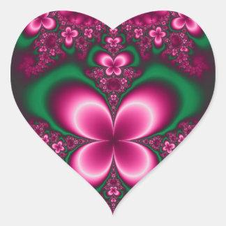Fractal Butterfly Garden Green And Pink Girl Art Heart Sticker