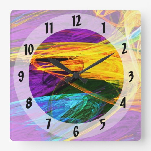 Fractal - Butterfly Wing Closeup Square Wallclocks