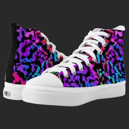 Fractal Camo Pattern High-Top Sneakers