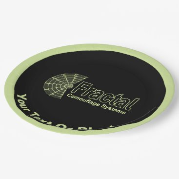 Professional Business Fractal Camouflage Systems Logo Paper Plate