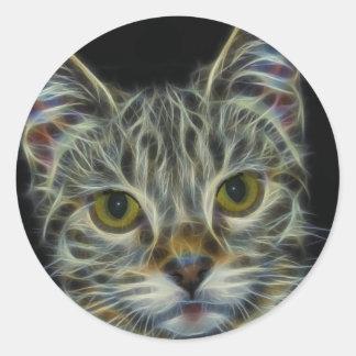Fractal Cat Classic Round Sticker