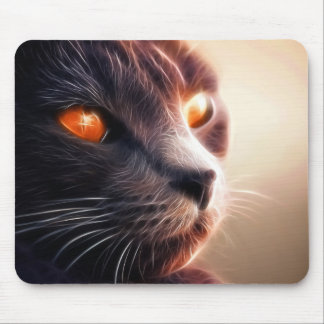 Fractal cat on bright lights mouse pad