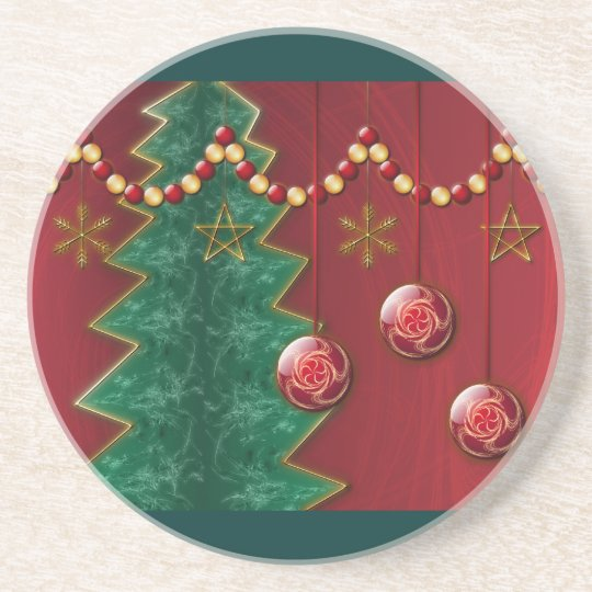 Fractal Celebration Christmas Coaster
