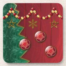 Fractal Celebration Christmas Cork Coaster