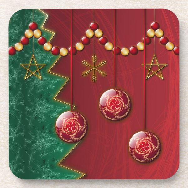 Fractal Celebration Christmas Cork Coaster