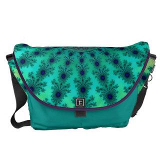 Fractal céltico verde azul claro bolsas de mensajería