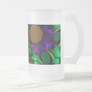 Fractal Circles and Bubbles Frosted Glass Beer Mug