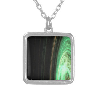 Fractal circular verde del espacio colgante cuadrado