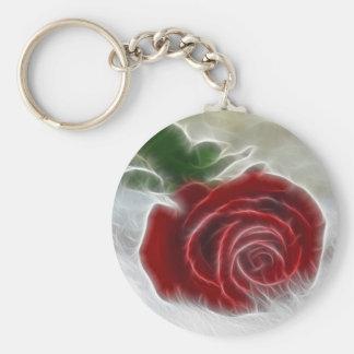 Fractal color de rosa llavero redondo tipo pin