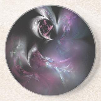 Fractal color de rosa rosado bonito posavasos diseño