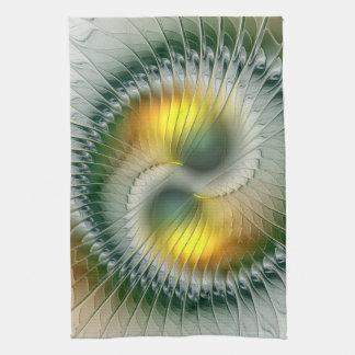 Fractal colorido abstracto amarillo verde de Yin Toallas