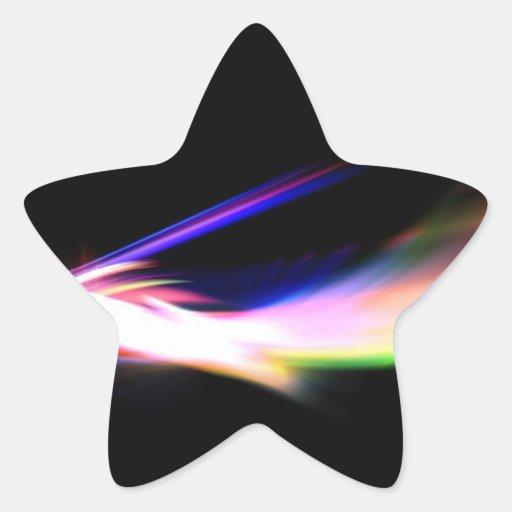 Fractal colorido abstracto texturizado pegatina en forma de estrella
