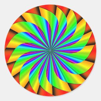Fractal colorido brillante del molinillo de viento pegatina redonda
