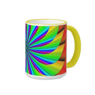 Fractal colorido brillante del molinillo de viento taza a dos colores