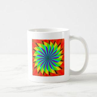 Fractal colorido brillante del molinillo de viento taza básica blanca