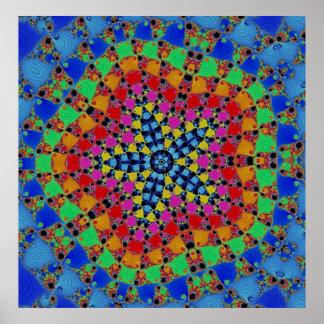 Fractal colorido de Kaliedscope del arco iris Impresiones