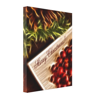 Fractal Cranberry Christmas with Customizable Text Gallery Wrap Canvas