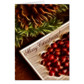 Fractal Cranberry Christmas with Customizable Text Cards