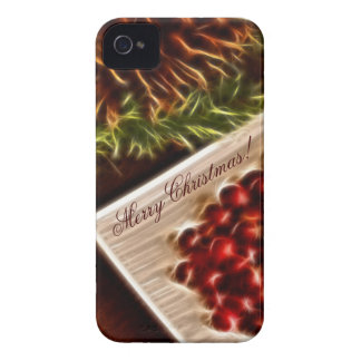 Fractal Cranberry Christmas with Customizable Text Case-Mate iPhone 4 Cases