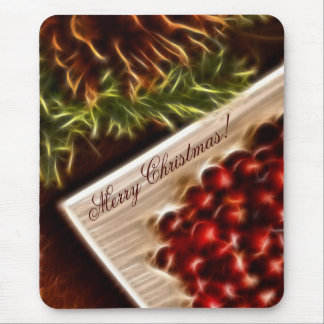 Fractal Cranberry Christmas with Customizable Text Mouse Pad