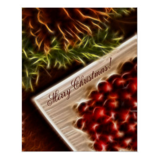 Fractal Cranberry Christmas with Customizable Text Poster
