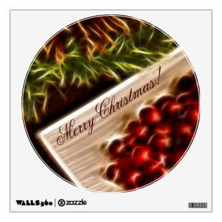 Fractal Cranberry Christmas with Customizable Text Wall Decal