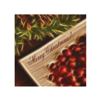 Fractal Cranberry Christmas with Customizable Text Wood Canvas