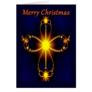 Fractal cross Merry Christmas greeting card