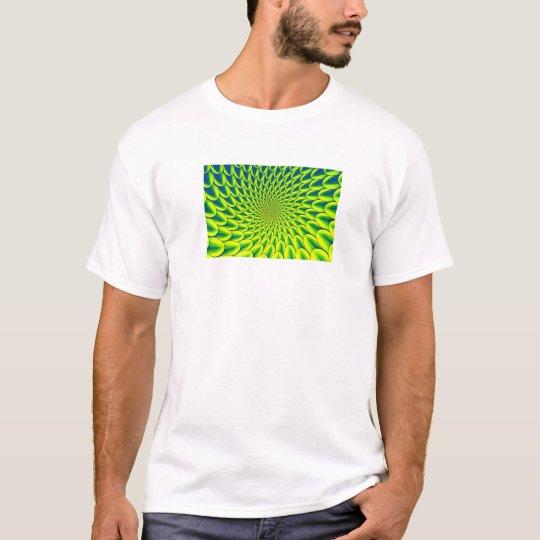 Fractal (Dahlia Vortex, Lime-Blue) Men's T-Shirt