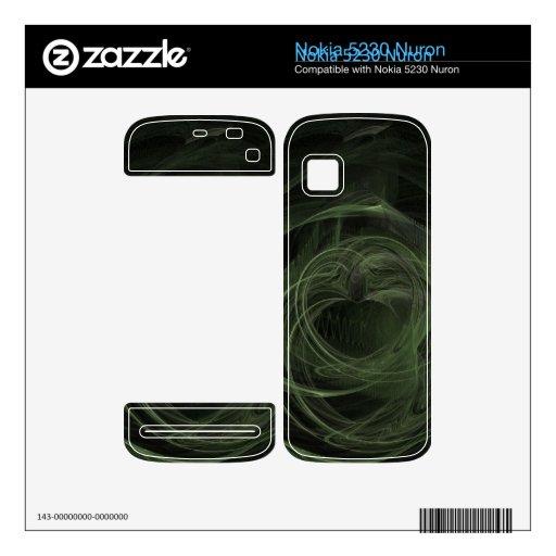 Fractal Dark Green Love Skin For Nokia 5230 Nuron