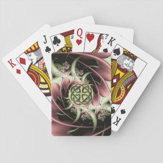 Fractal de bronce del melocotón y nudo céltico cartas de juego