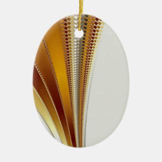 Fractal de cuero del navidad adorno ovalado de cerámica
