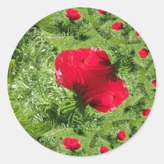 Fractal de la amapola oriental pegatina redonda