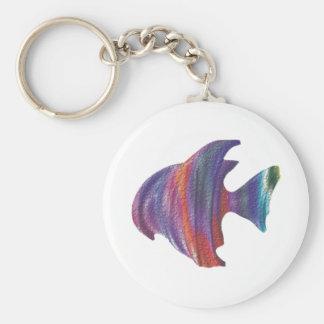 Fractal de la burbuja de los pescados de arco iris llavero redondo tipo pin