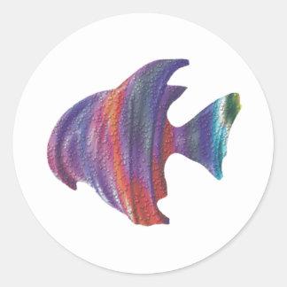 Fractal de la burbuja de los pescados de arco iris pegatina redonda
