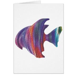 Fractal de la burbuja de los pescados de arco iris tarjeta de felicitación