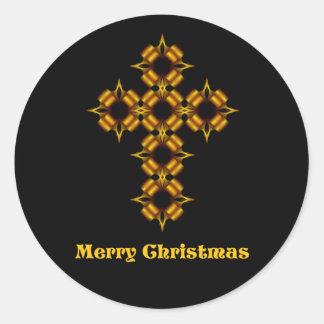 Fractal de la cruz del oro de las Felices Navidad Pegatina Redonda