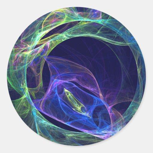 Fractal de la energía pegatina redonda