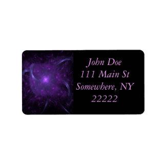 Fractal de la esperanza en púrpura etiqueta de dirección