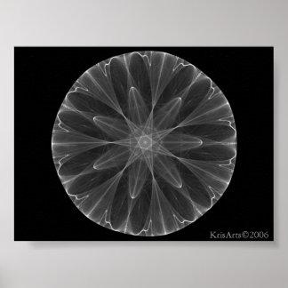 fractal de la flor blanca póster