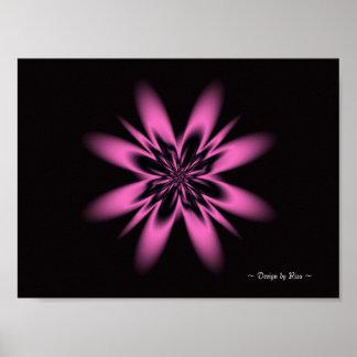 Fractal de la flor de la lavanda póster