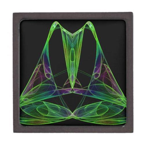 Fractal de la llama del caos de la pirámide caja de joyas de calidad