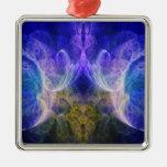 Fractal de la llama del iris ornamentos de navidad